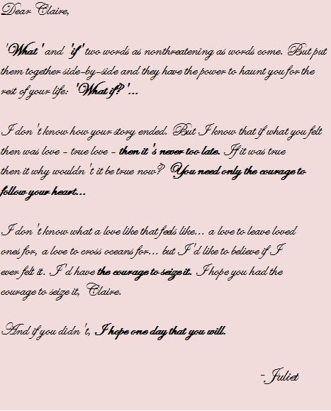 LETTERS TO JULIET QUOTES LETTER TO CLAIRE
